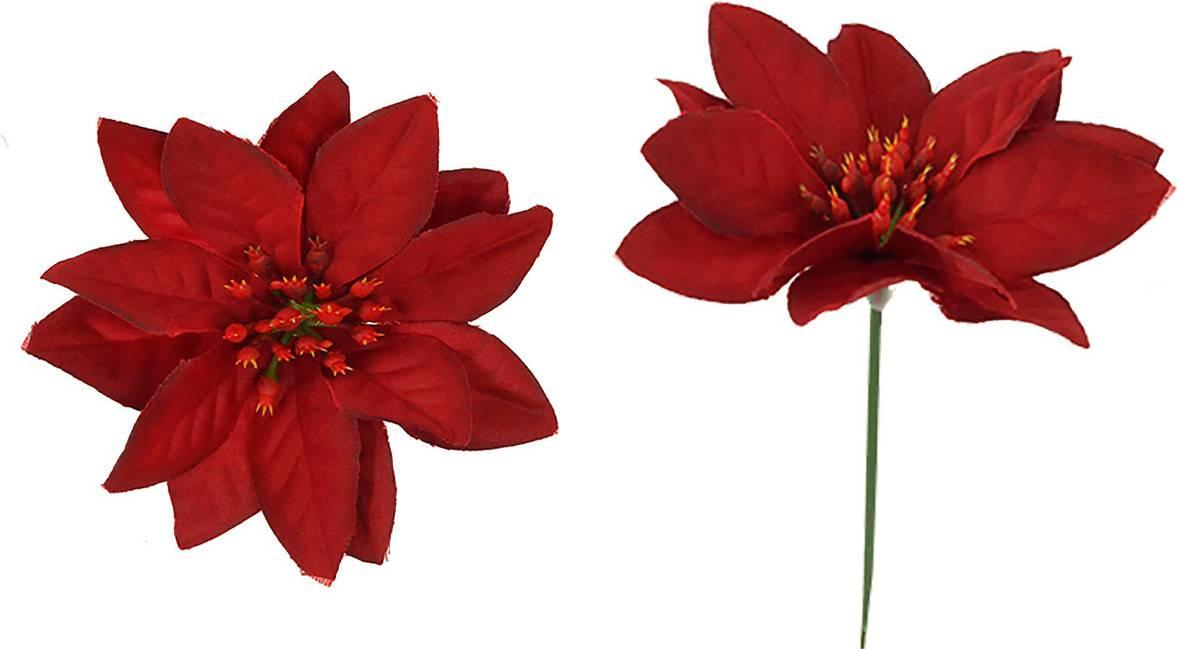 Květina umělá. Vánoční růže ,poinsécie zápich červená UK-0034 Art