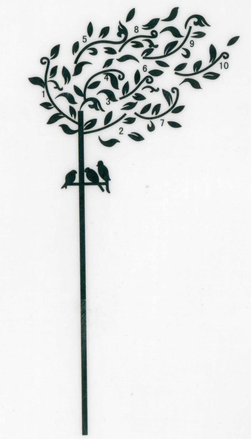 Samolepka na zeď Strom a ptáčci - Nalepovací tabule