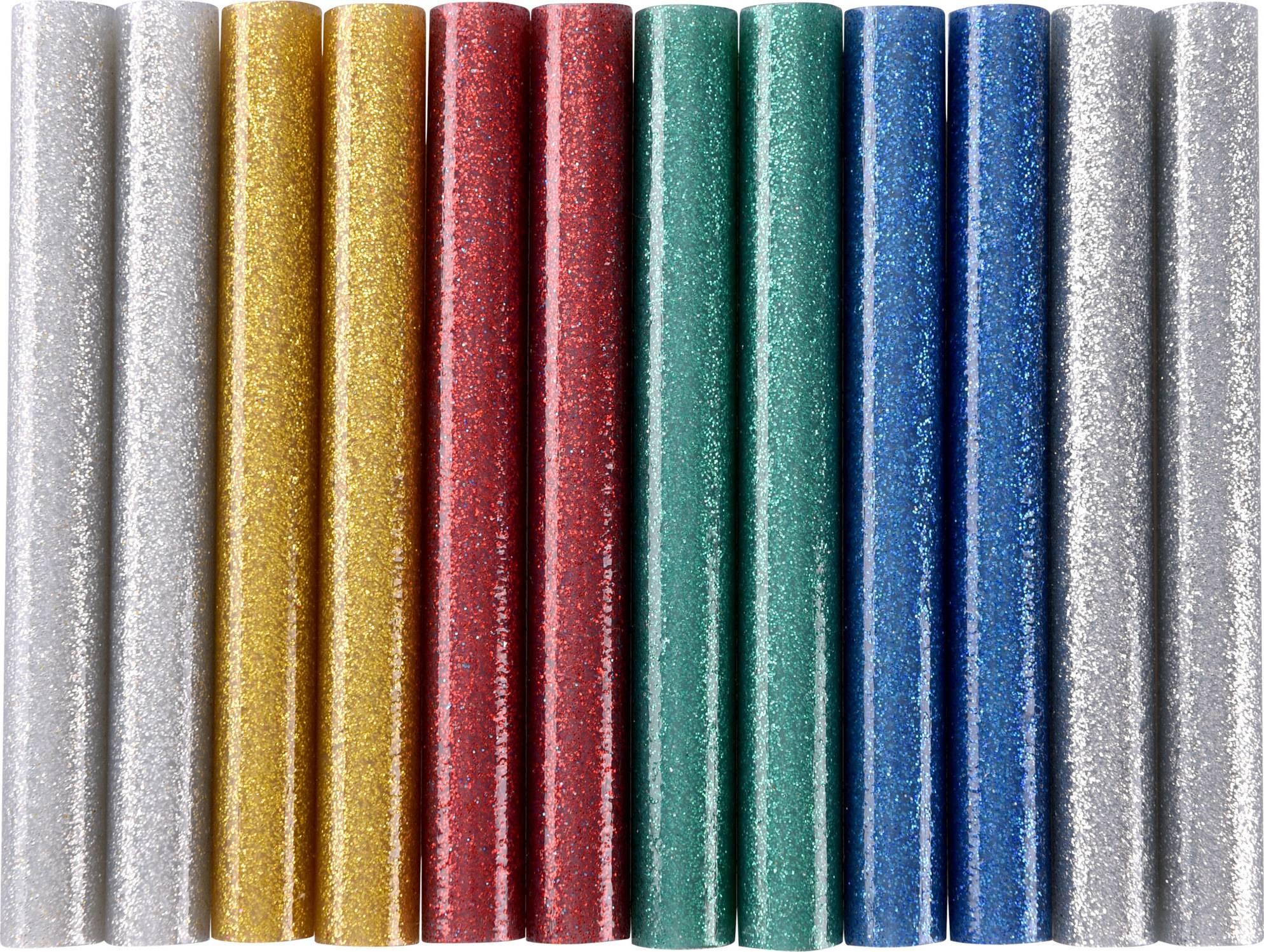 tyčinky tavné, mix barev se třpytem (glitter), pr.11x100mm, 12ks 9911 EXTOL CRAFT