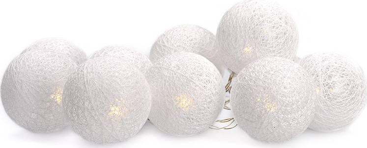 LED řetěz vánoční koule bavlněné, 10LED, 1m, 2x AA, IP20 1V201 Solight