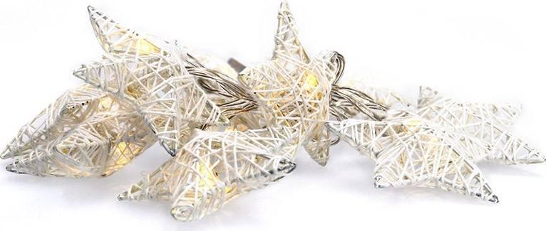 LED řetěz vánoční hvězdy bílé proplétané, 10LED, 1m, 2x AA, IP20 1V203 Solight