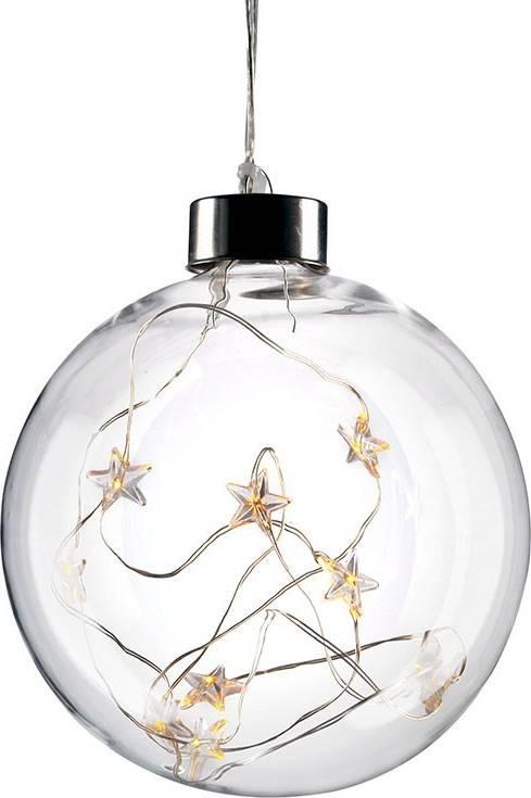 LED vánoční koule skleněná, 10LED, 2x AA, IP20 1V204 Solight