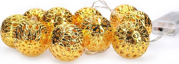 LED řetěz vánoční koule zlaté, 10LED řetěz, 1m, 2x AA, IP20 1V207-G Solight