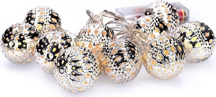LED řetěz vánoční koule stříbrné, 10LED řetěz, 1m, 2x AA, IP20 1V207-S Solight