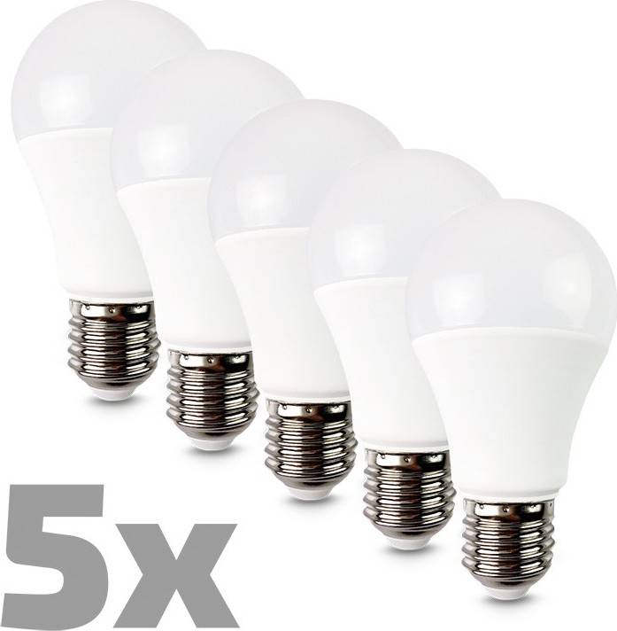 ECOLUX LED žárovka 5-pack, klasický tvar, 10W, E27, 3000K, 270°, 810lm, 5ks v balení WZ529-5 Solight