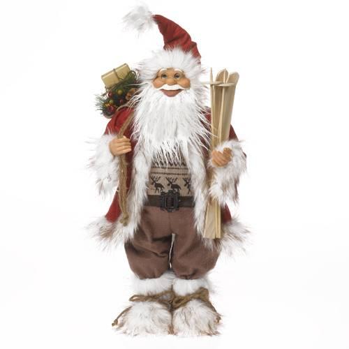 Santa Claus a dřevěné lyže 62cm - IntArt