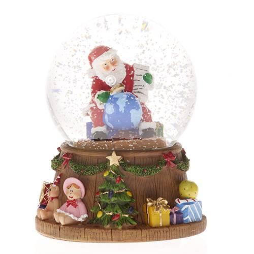 Vánoční sněžítko Santa a země 11x14cm hrající a svítící - IntArt