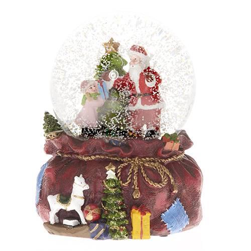 Vánoční sněžítko Santa s holčičkou 12x10cm hrající a svítící - IntArt