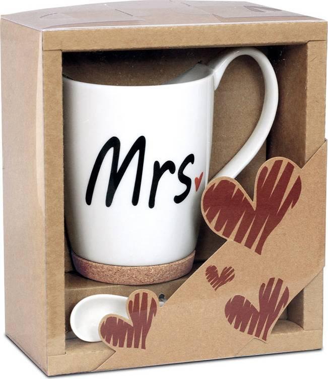 Artium Hrnek porcelánový Mrs. s korkem a lžičkou 330 ml