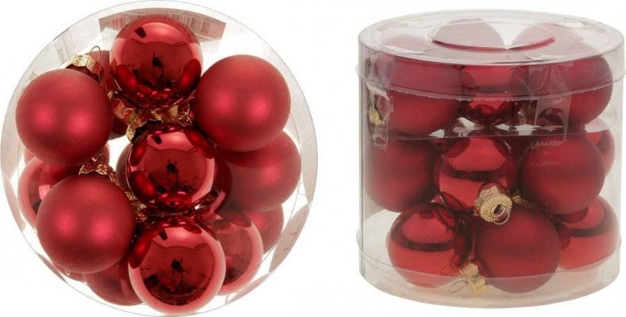 Ozdoby skleněné, pr.3cm, cena za 18ks v PVC balení VAK022-cervena Art