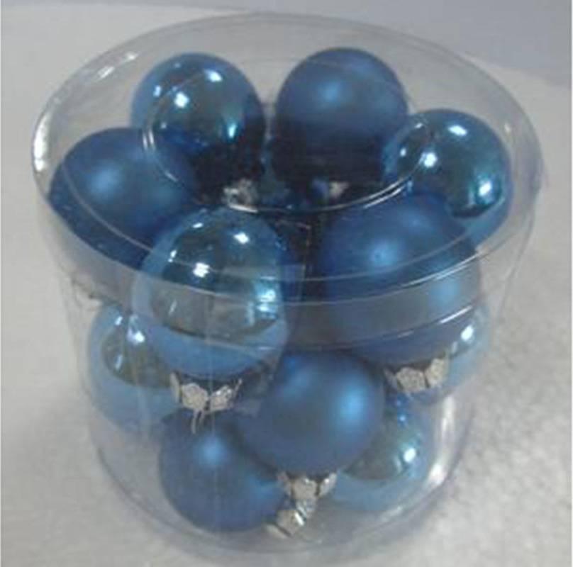 Ozdoby skleněné, pr.3cm, cena za 18ks v PVC balení VAK022-modra1 Art