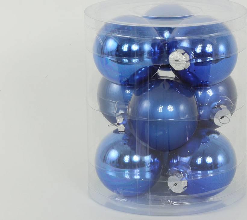 Ozdoby skleněné, pr.7cm, cena za 9ks v PVC balení VAK024-modra 1 Art