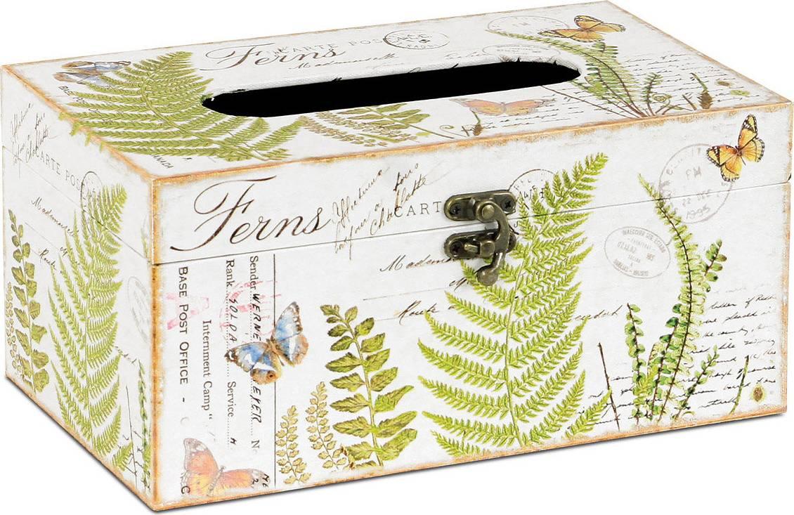 Krabička na papírové kapesníky dřevěná potažená plátnem s potiskem FK3008 Art