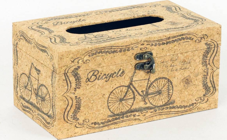 Krabička na papírové kapesníky dřevěná potažená přirodním  korkem FK3009 Art