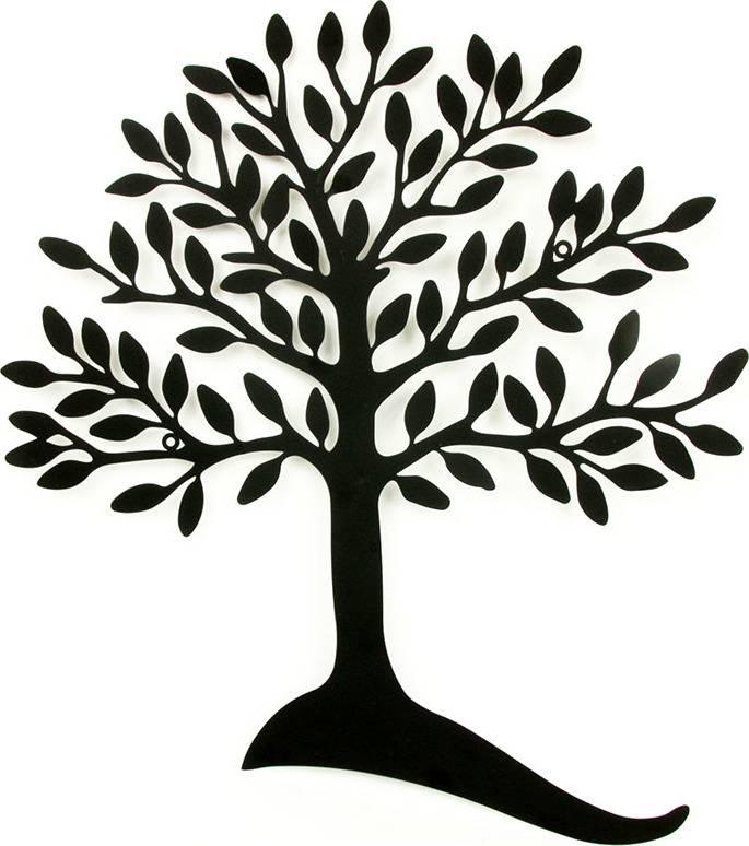 Nástěnná kovová dekorace - strom, barva černá matná HO4334 Art