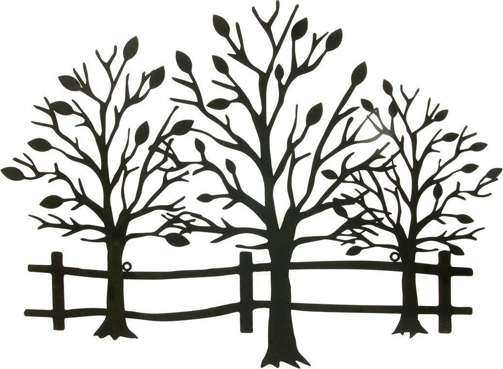 Nástěnná kovová dekorace - stromy, barva černá matná HO4341 Art