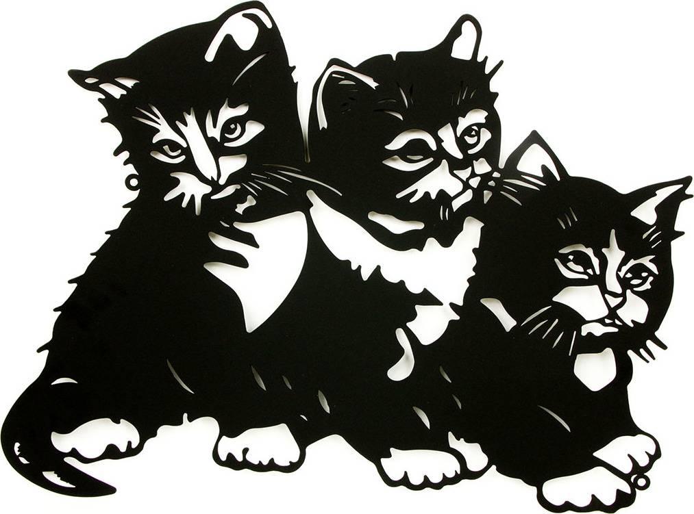 Nástěnný kovový obraz - koťátka, barva černá matná HO4372 Art