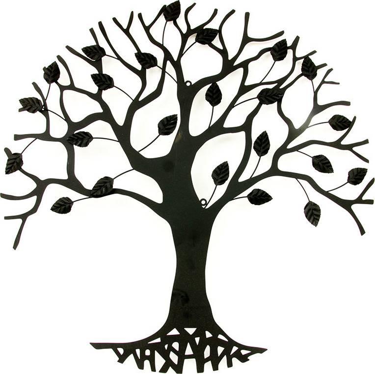 Nástěnná kovová dekorace - stromy, barva černá matná HO4464 Art