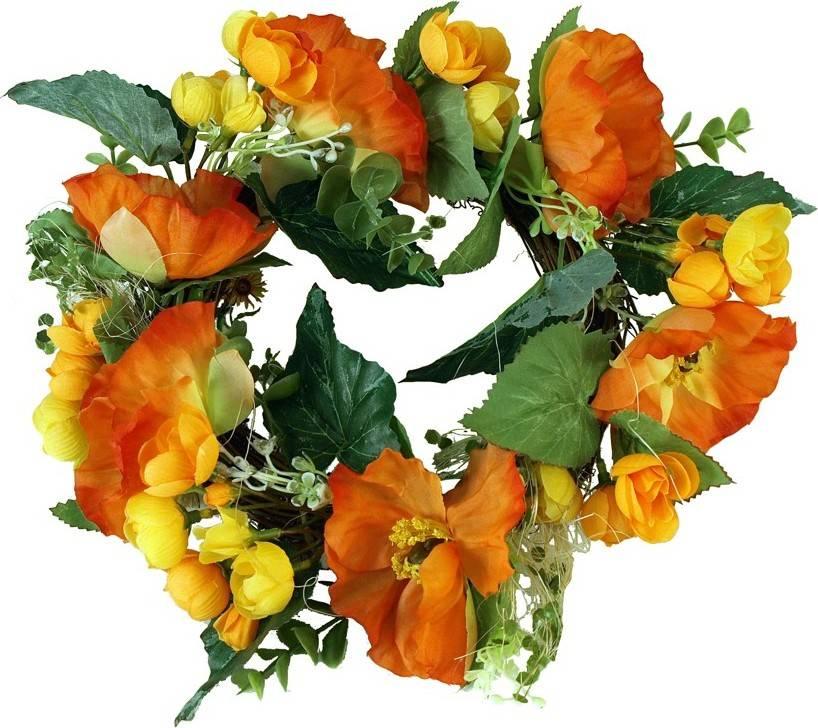Fotografie Věnec z vlčích máků umělých, barva oranžová 71PR0014-OR Art