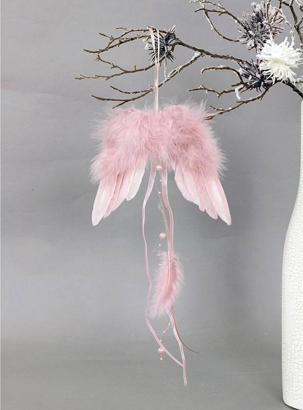 Andělská křídla z peří, barva růžová,  baleno 6 ks v polybag. Cena za 1 ks. AK6103-PINK Art