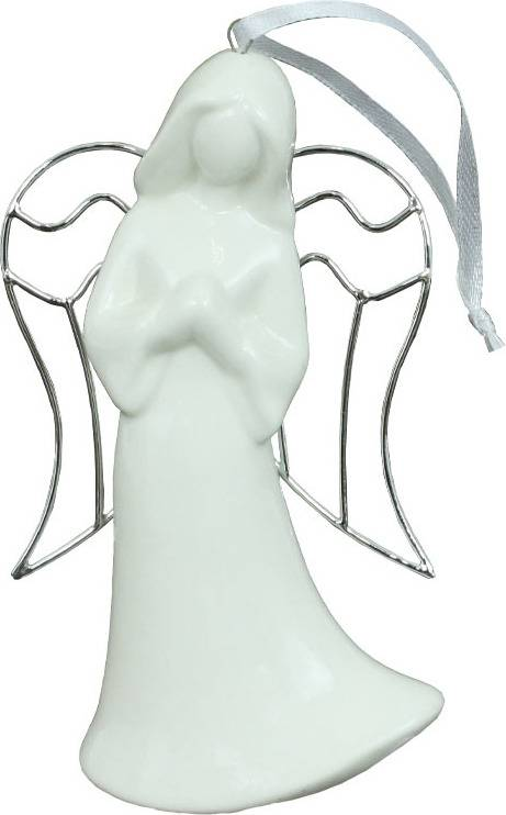 Anděl, porcelánová dekorace s kovovými křídly AND171 Art