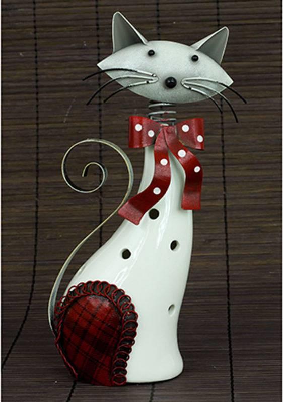 Kočka, porcelánová dekorace s kovovem, barva bílo-červená AND175 Art