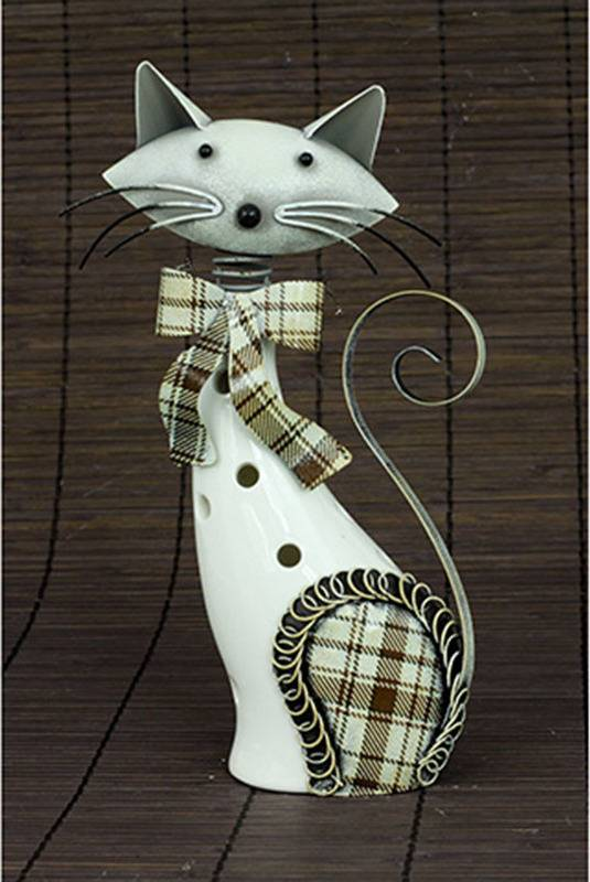 Kočka, porcelánová dekorace s kovovem, barva bílo-hnědá AND178 Art