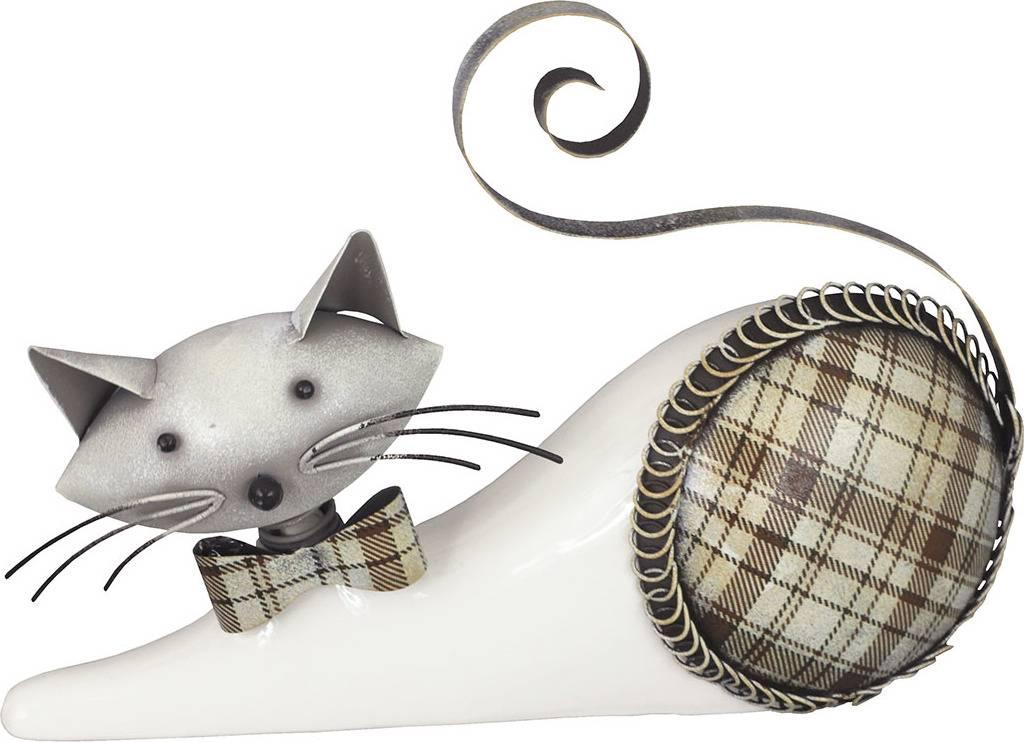 Kočka, porcelánová dekorace s kovovem, barva bílo-hnědá AND180 Art