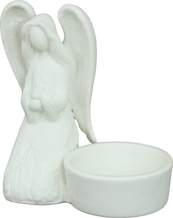 Autronic Svícen porcelánový s andělíčkem, barva bílá