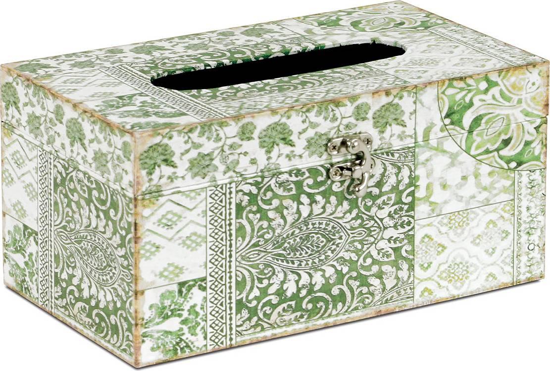 Krabička na papírové kapesníky dřevěná potažená plátnem s potiskem FK3011 Art