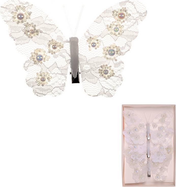 Motýl s klipem, cena za  3 kusy v krabičce MO4210 Art