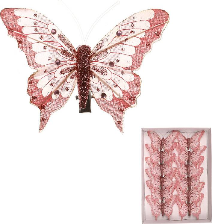 Motýl s klipem, cena za  12  kusů v krabičce MO4227 Art