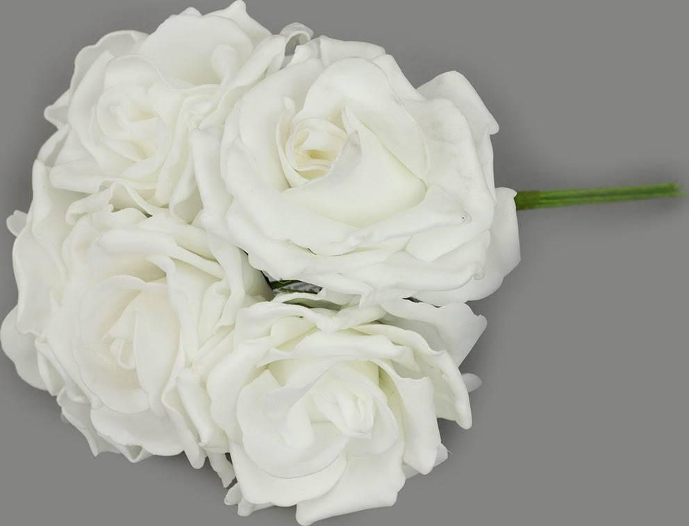 Puget ze 6kusů pěnových růžiček, barva bílá, umělá dekorace PRZ2372 Art