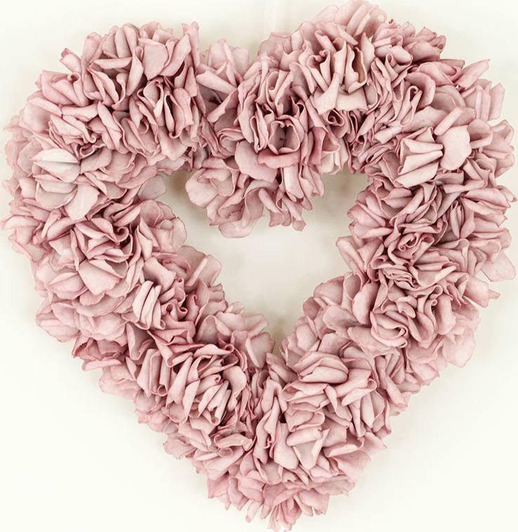 Srdce z pěnových růžiček, barva lila, umělá dekorace PRZ2971 Art