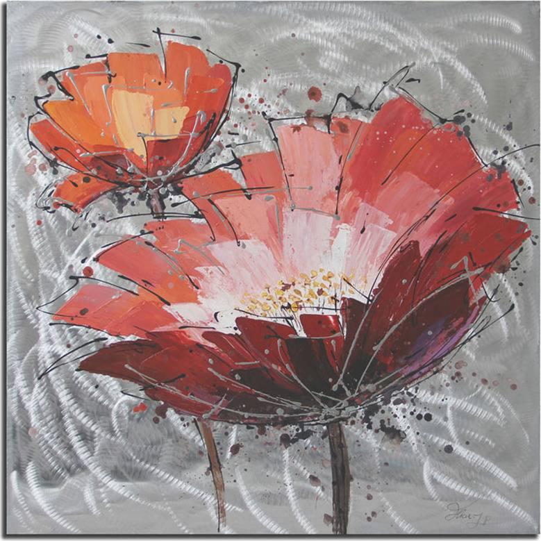 Obraz - červený květ , ruční olejomalba s kovovými exekty DOR039 Art