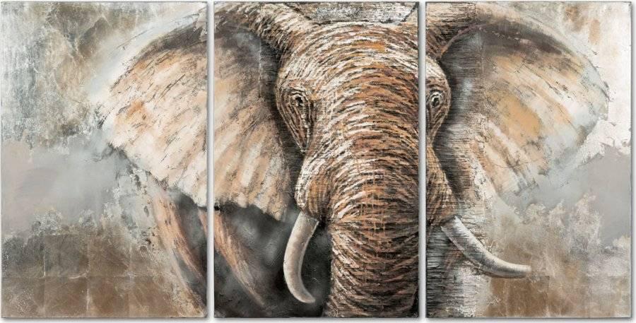 Obraz - slon, ruční olejomalba na plátně.  Sada 3 kusy, DOR040 Art