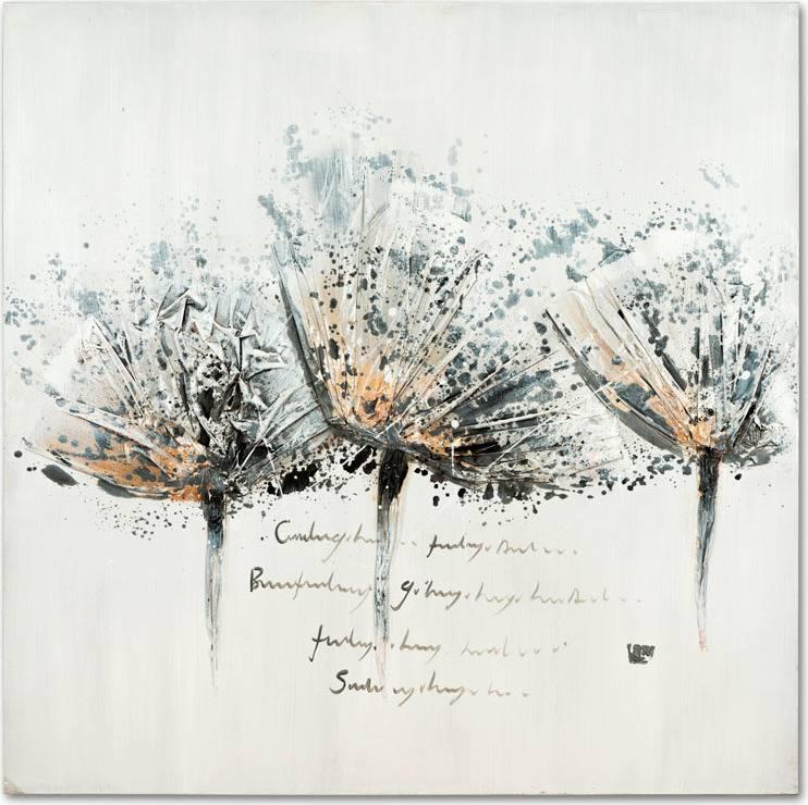 Obraz - 3 šedé květy, ruční olejomalba na plátně DOR045 Art