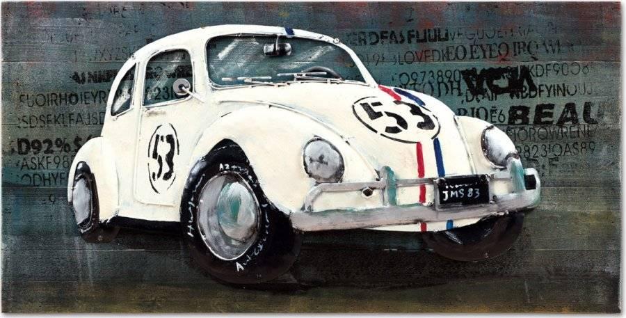 Obraz - bílé auto, ruční olejomalba na dřevě s kovovými efekty DOR053 Art