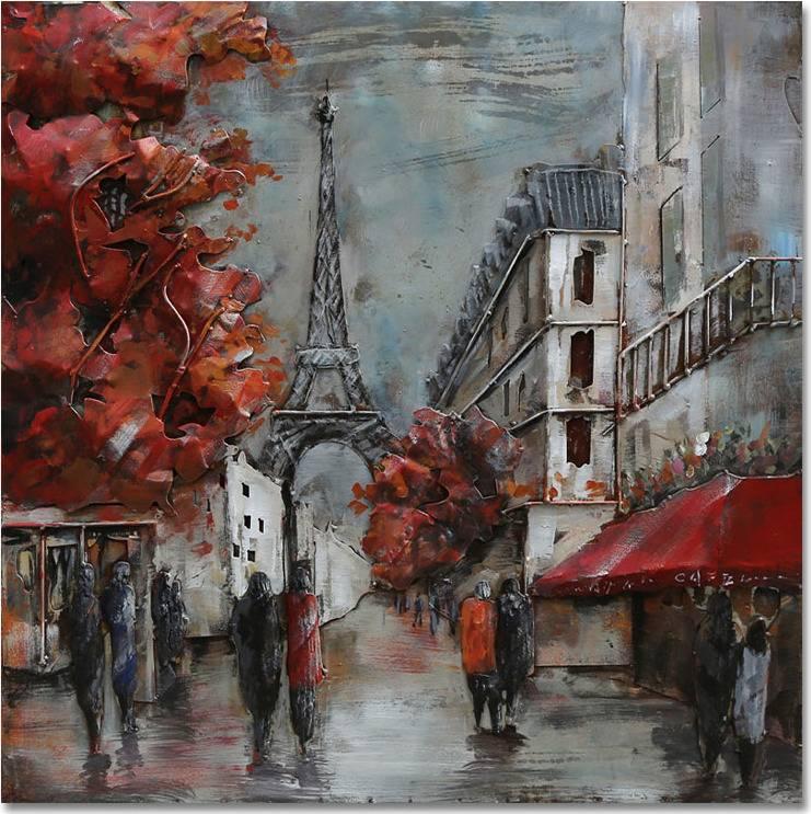 Obraz - Paříž, ruční olejomalba na kovu DOR059 Art
