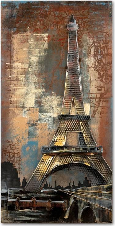 Obraz - Eiffelova věž, ruční olejomalba na kovu DOR062 Art