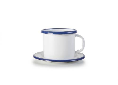 Smaltovaný hrníček 5cm s táckem bílo modrý - Ibili