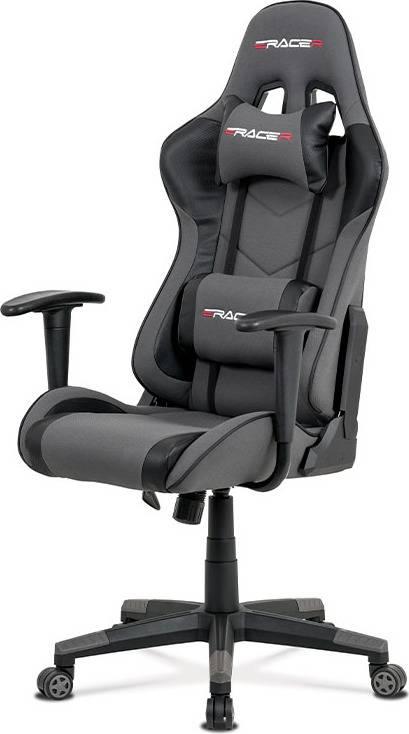 Kancelářská židle, šedá látka + černá ekokůže, houpací mech., plastový kříž KA-V608 GREY Art