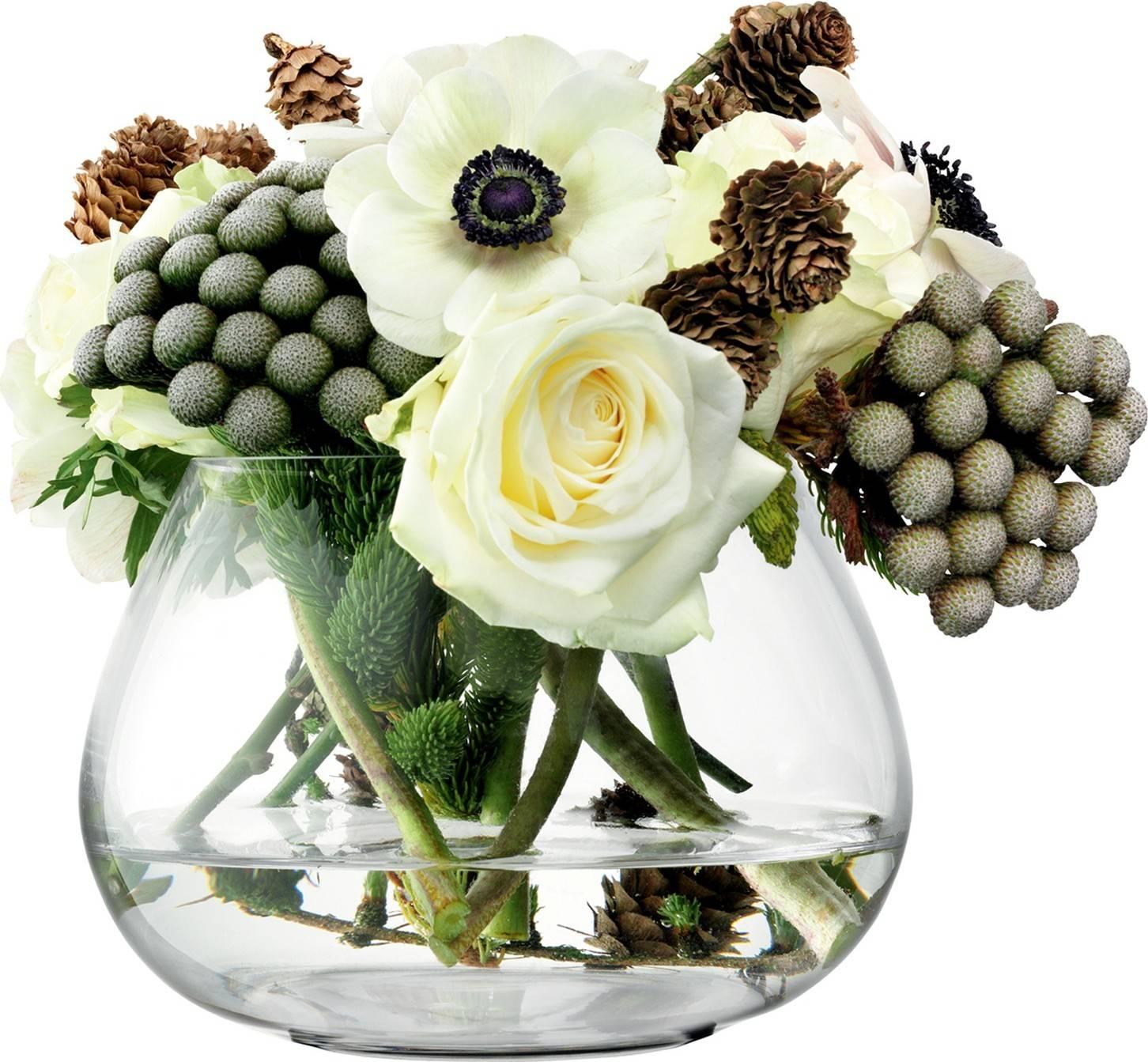 Flower skleněná váza pro aranžmá na stůl čirá, v.11.5cm, LSA, Handmade G594-11-301 LSA International