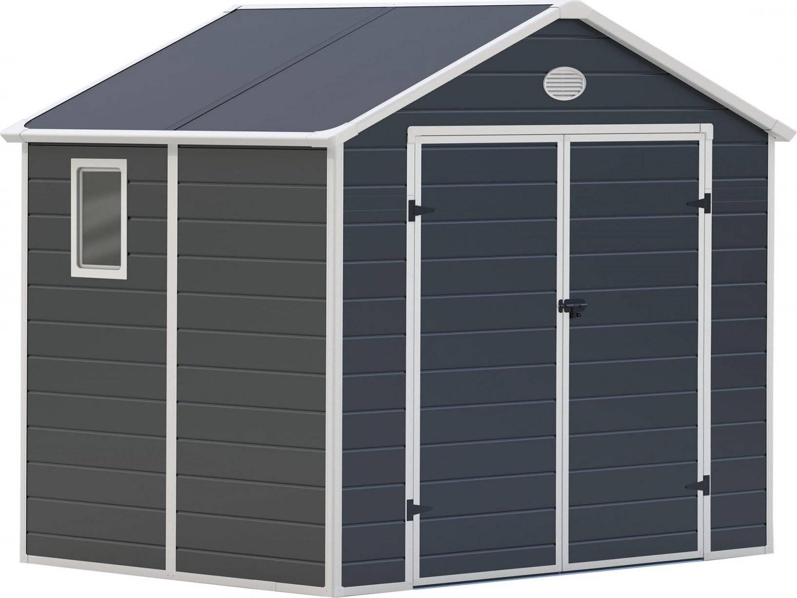 Zahradní domek PAH 458 - 241 x 190 cm, plastový, šedý 6390038 G21