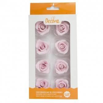 Cukrové růže růžové 8ks - Decora