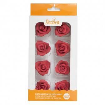 Cukrové růže červené 8ks - Decora