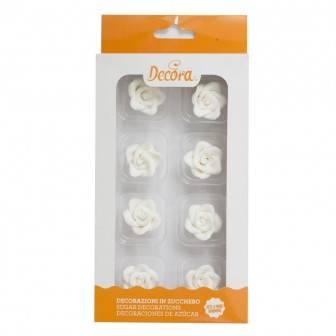 Cukrové růže bílé 8ks - Decora