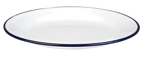 Smaltovaný talíř mělký 22sm modrý okraj - Ibili