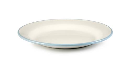 Smaltovaný talíř mělký 22sm světle modrý okraj - Ibili