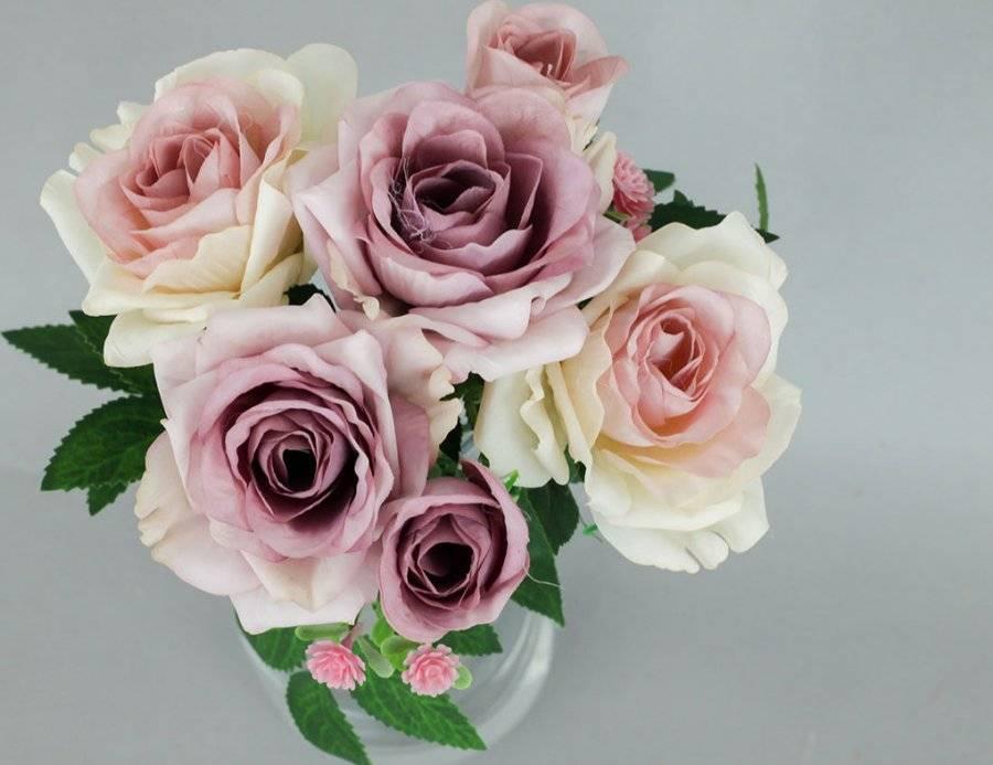 Růže puget, umělá květina, barva fialová KUM3229 Art